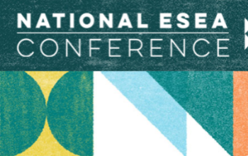 National ESEA Conference graphic with shades of blue shapes