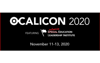 Black background with white text: text first row OCALICON 2020; second row: featuring inclusive education leadership institute; third row text: november 11-13 2020