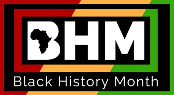 Letters BHM and words Black History Month are on red, yellow, green background.