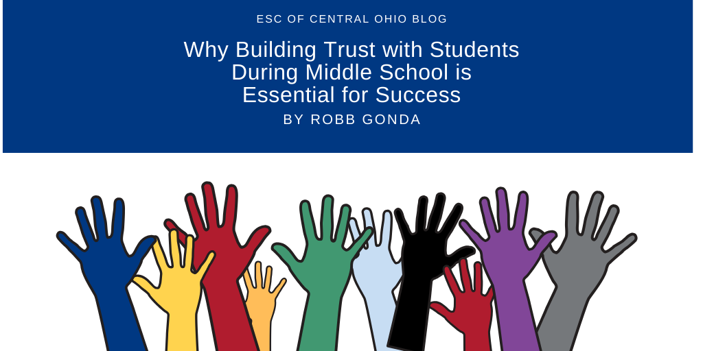 Different colored illustrated hands are raised in various positions. Why Building Trust with Students During Middle School is Essential for Success are white on a blue background
