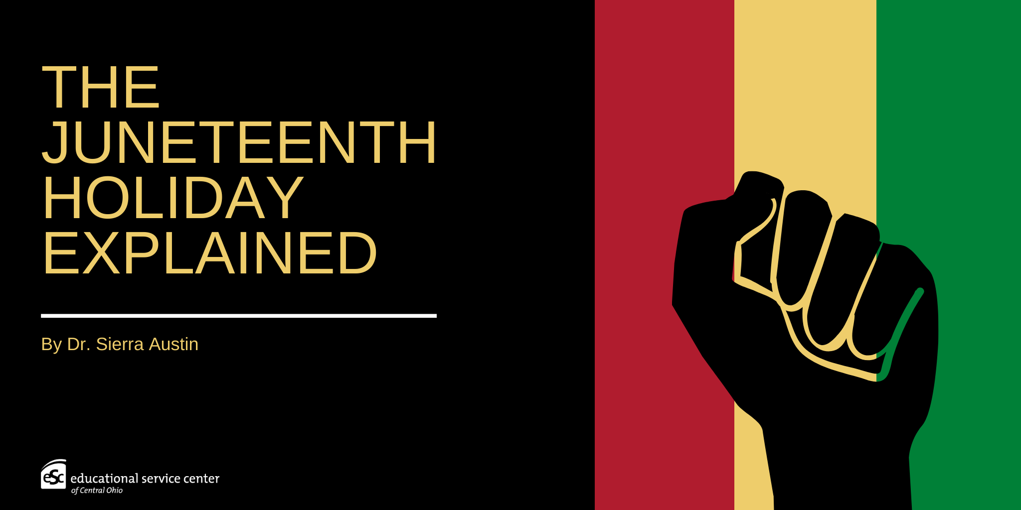 "black, red, yellow, green stripes, ""The Juneteenth holiday explained"", black fist"